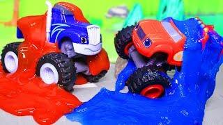 Вспыш и чудо машинки: новые мультики с игрушками. Состязание в слизи. Машинки Вспыш и Крушила.