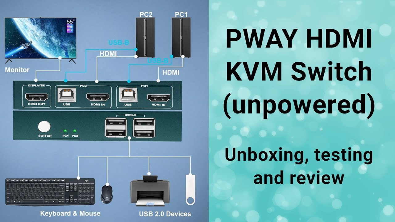 Download PWAY HDMI KVM switch (unpowered) testing and review