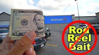 IMPOSSIBLE $5 Walmart Fishing Challenge!! - No Rod, Reel or Bait Allowed