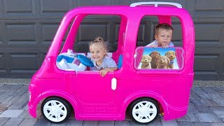 Barbie Camper Food Truck Power Wheel Van Vehicle for little Elis and brother Thomas Ride On Toy