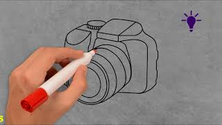 How to draw dslr camera with pencil on paper,simple tricks
