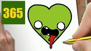 ZOMBIE HEARTW TO DRAW A ZOMBIE HEART CUTE, Easy step by step drawing lessons for kids