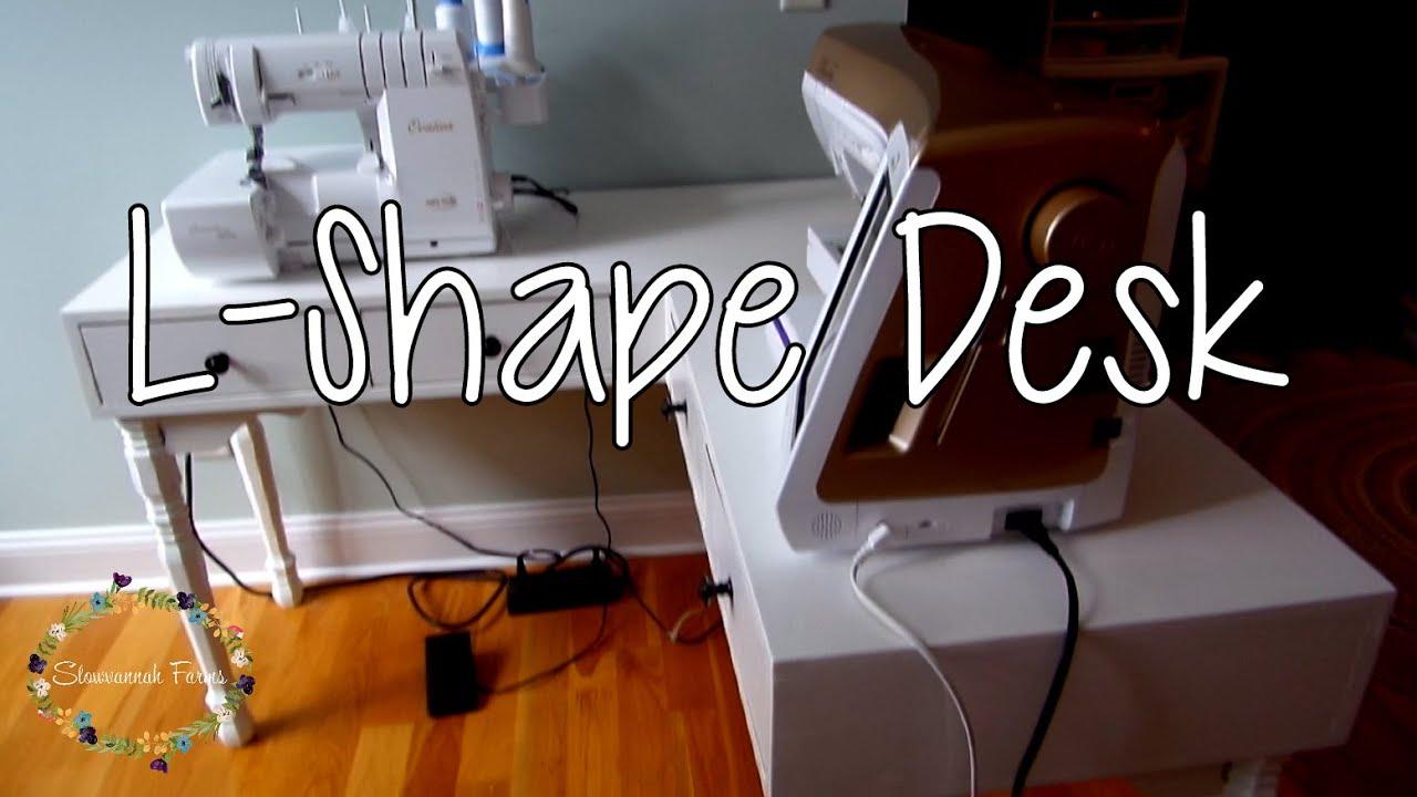 How to make an l shaped corner desk sewing setup youtube - Making a corner desk ...