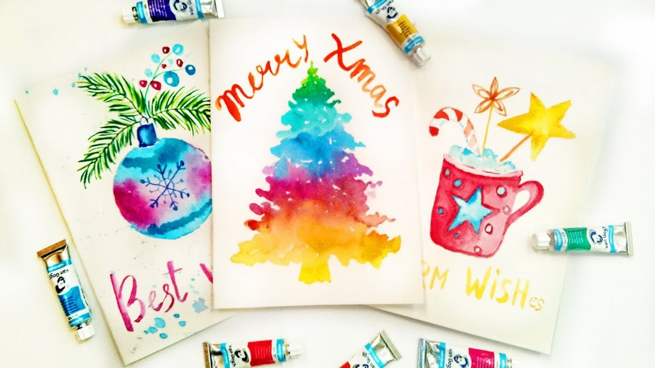 Diy Easy Christmas Cards Tutorial With Watercolors Handmade Gifts
