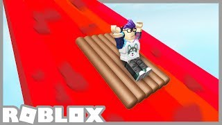 BUILD A RAFT and slide down 9999FT of LAVA in Roblox!