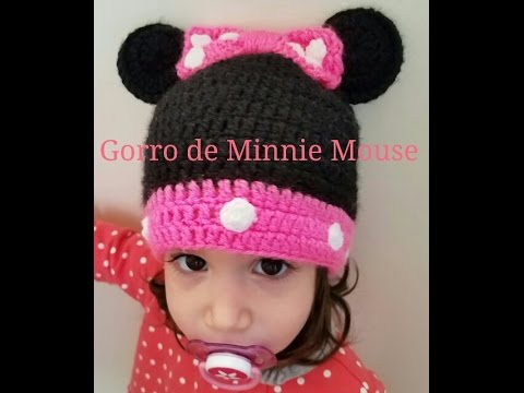 755e027fb Gorro de Minnie Mouse a crochet - YouTube