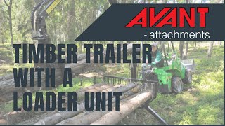 Timber trailer with a loader unit, Avant 300-700 Series attachment Thumbnail