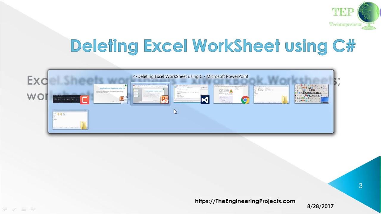099 - Deleting Excel WorkSheet using C# - YouTube
