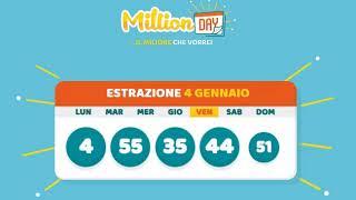 Estrazione MillionDAY 4 Gennaio
