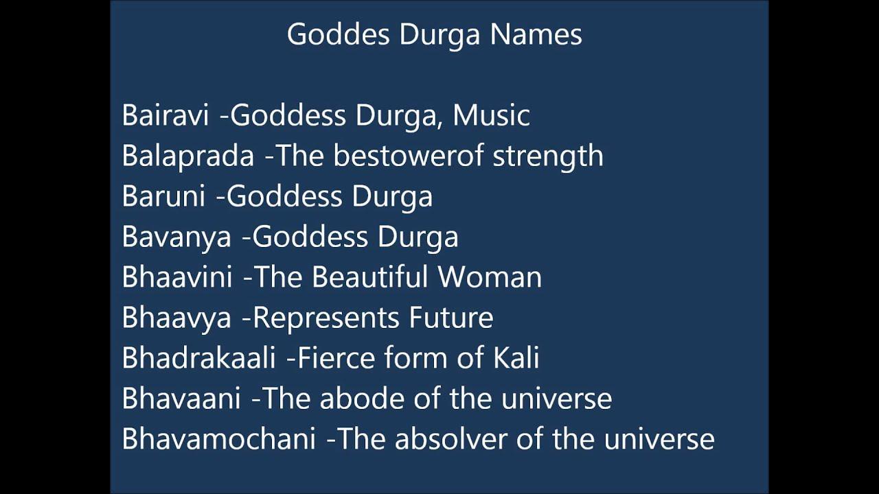 Goddess Durga Names For Indian Baby Girls - YouTube