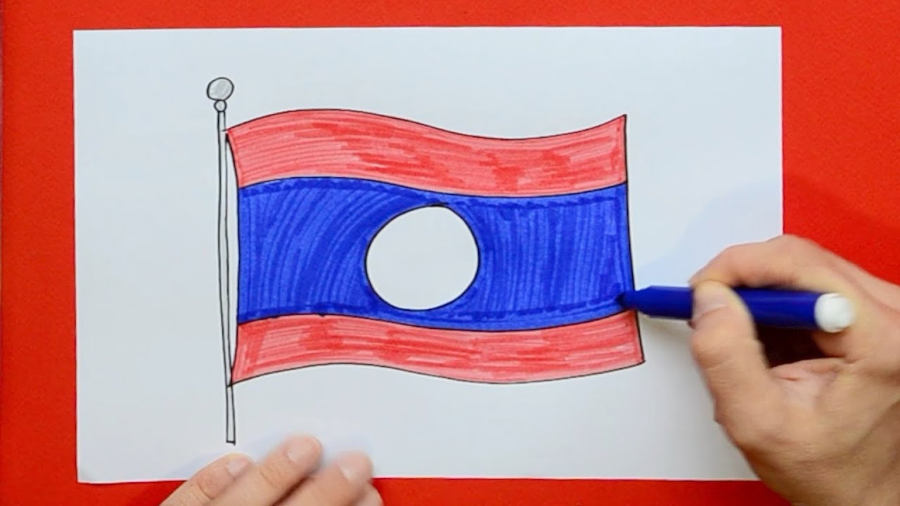 How To Draw And Color The National Flag Of Laos