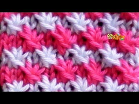 Como tejer punto fantas a de flores en colores 2 agujas - Puntos de dos colores a dos agujas ...