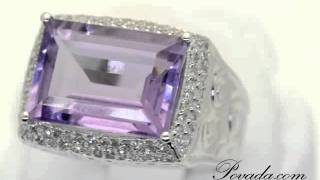 olitaire Emerald Cut Purple Amethyst and Diamond Large Gemstone Ring i ... [RSC8345]