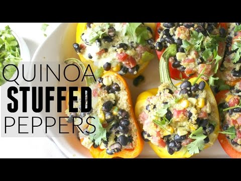 VEGAN QUINOA STUFFED PEPPERS WITH JALAPENO CREAM SAUCE | This Savory Vegan