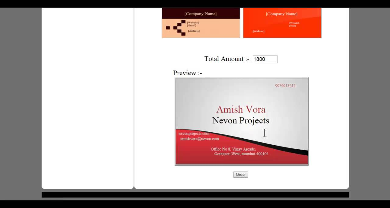 Online visiting card creation project youtube online visiting card creation project reheart Choice Image
