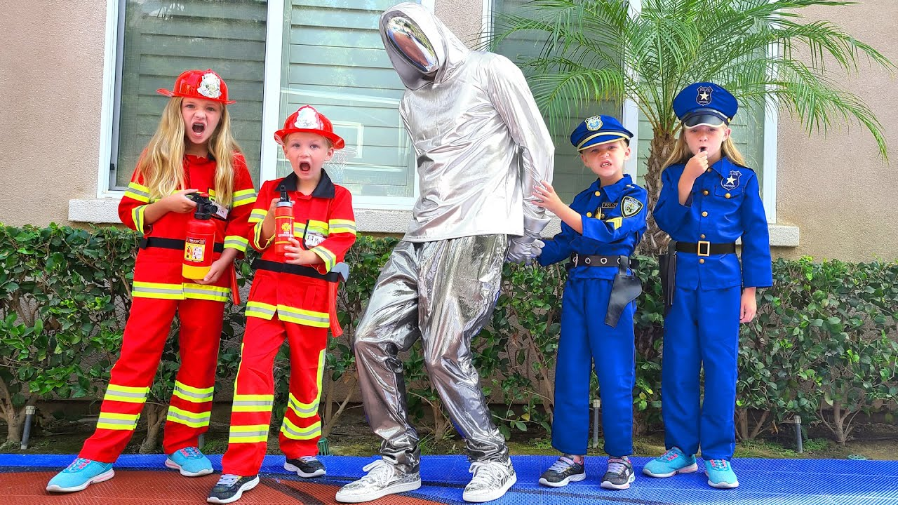 Kid Firefighters and Girl Cops Stop Faceless!!!