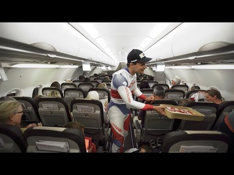 Swiss-Ski athletes surprise SWISS flight guests