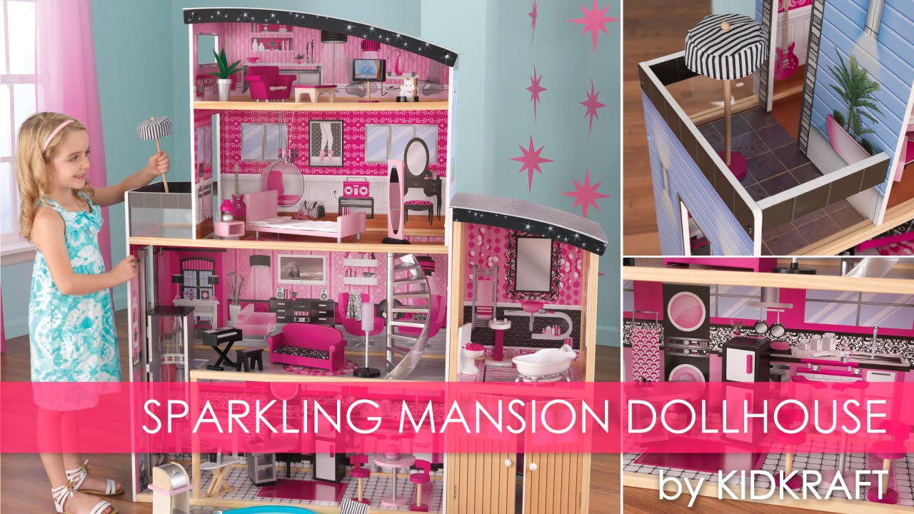 Girl S Pink Sparkle Mansion Dollhouse Toy Review Youtube