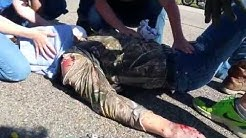 WARNING! (blood/skin damage) Motorcycle accident (no helmut) on I-80 by Rock Springs, Wyoming