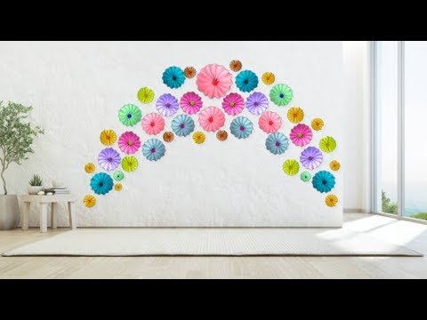 How to Wall Decorate Using Different Color Flowers - DIY - Paper Craft