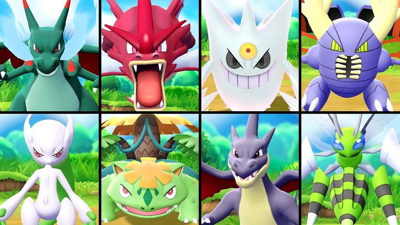 All Shiny Mega Evolutions In Pokemon Let S Go Pikachu Eevee