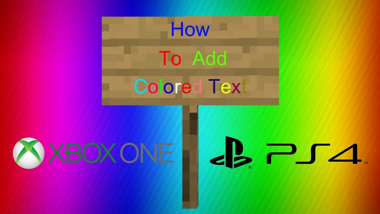Colored Text on Signs! Minecraft XB1/PS4 Tutorial - YouTube