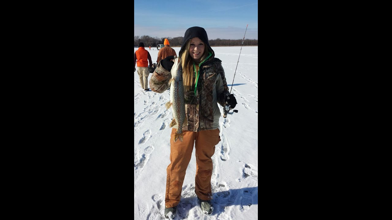 Ice fishing 24 inch pike on 2 lb line while jigging for ...