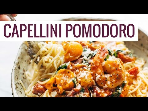 Garlic Butter Capellini Pomodoro With Shrimp Youtube