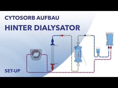 CytoSorb-Aufbau: Einsatz hinter dem Dialysator