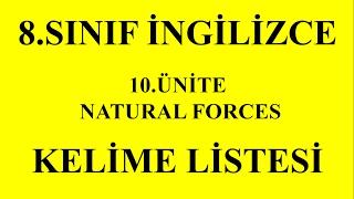 8.Sınıf İngilizce 10.Ünite Kelimeler (Natural Forces)