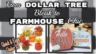 From Dollar Tree BLEAK to Farmhouse CHIC | Quick & Easy $3 DIY's