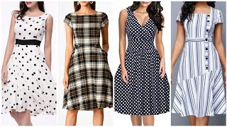 simple stylish and comfortable dots linning and check fabric middi dress design and ideas for girls