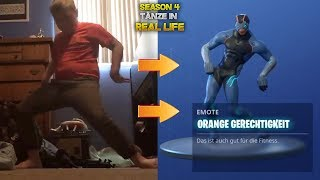 Fortnite TÄNZE in REAL LIFE - Season 4 (Orange Shirt Kid, Get Hyped) Fortnite [DEUTSCH]