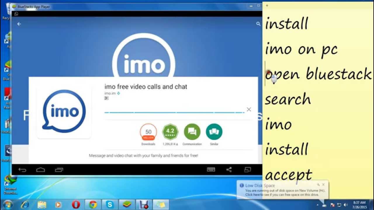 install imo video calling app on laptop and pc most viewed free calling youtube - Free Coling