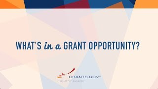 Intro to Grants.gov - What's in a Grant Opportunity?