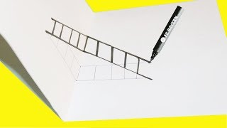 How to Draw a 3D Ladder - Drawing Mixed Reality Illusion | DIY 3D Stairs | Optical Illusion