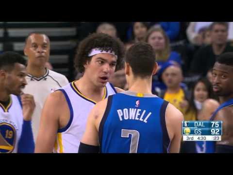 Anderson Varejao & Dwight Powell Scuffle | Mavericks vs Warriors | March 25, 2016 | NBA 2015 16