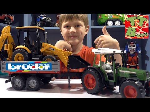 ✔ BRUDER Трактор с прицепом и Экскаватор Погрузчик от Игорька. Видео для детей / Cars for Boys ✔
