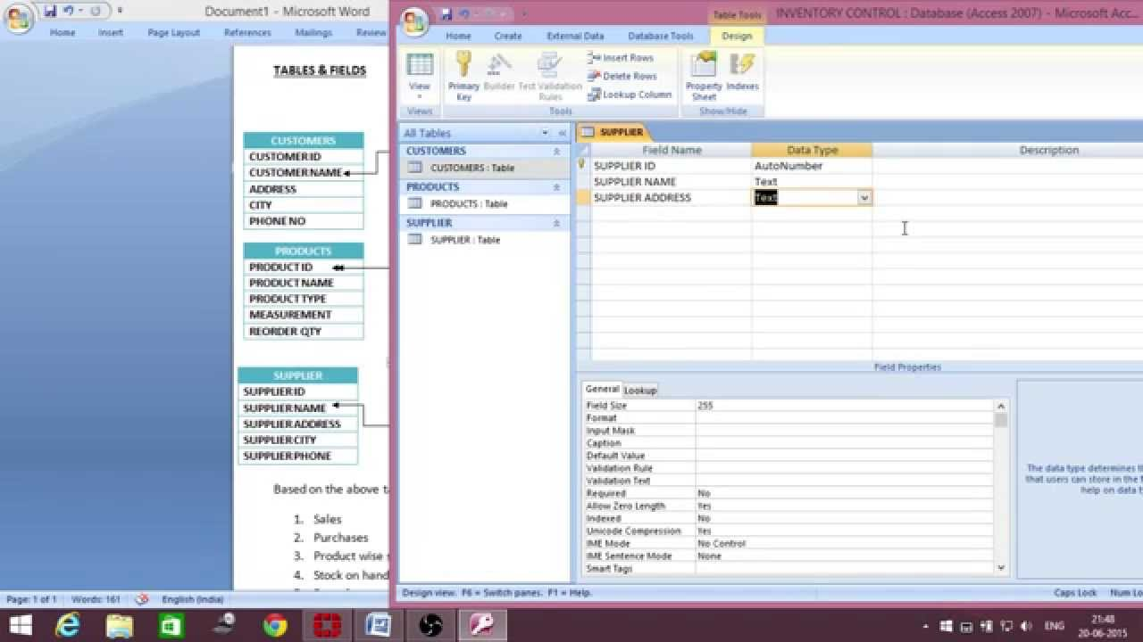 MS Access inventory management database creation - Telugu - Part 1 ...