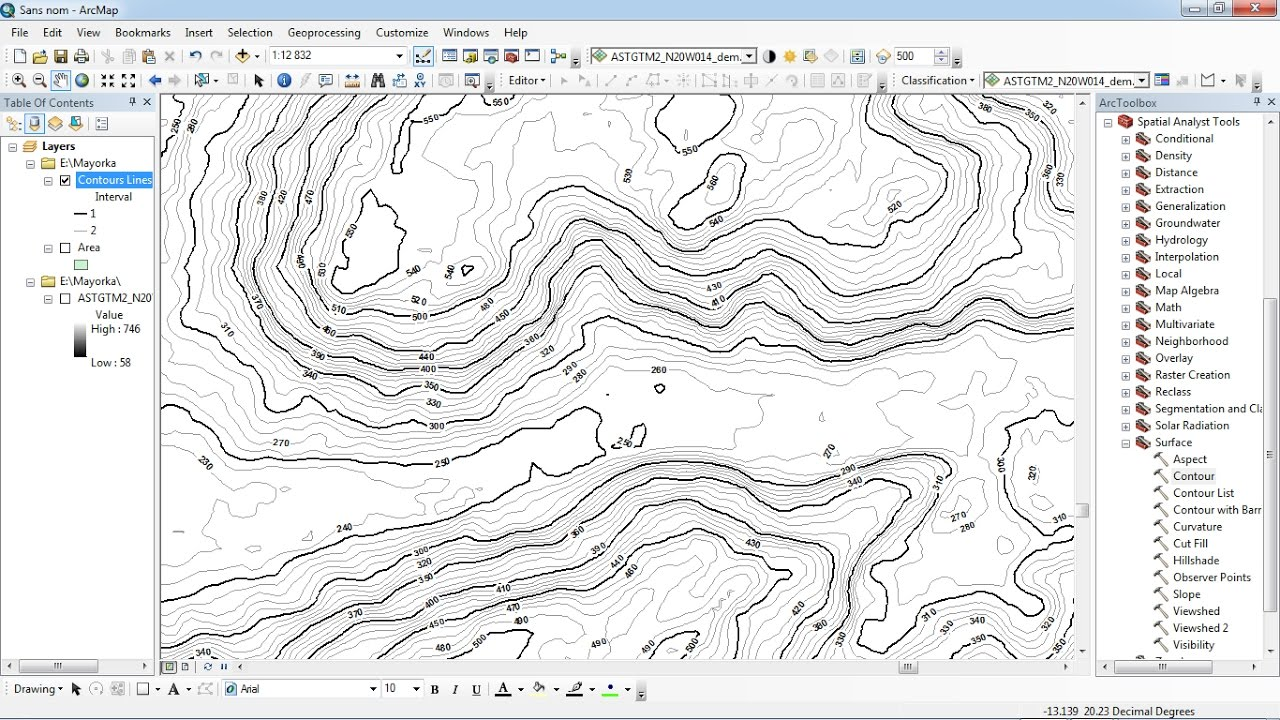 Contour Lines On A Topographic Map Connect.Labeling Contour Lines In Arcgis Youtube