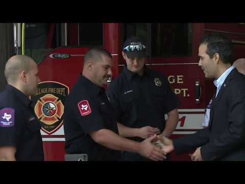 Cmr. George P. Bush Presents Challenge Coins To Village Firefighters