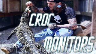Hand feeding HUGE Crocodile Monitors and a 21ft Python!!!