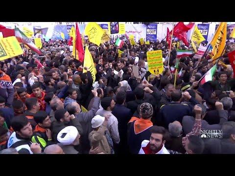 Iranians Protest Amid New U.S. Sanctions   NBC Nightly News