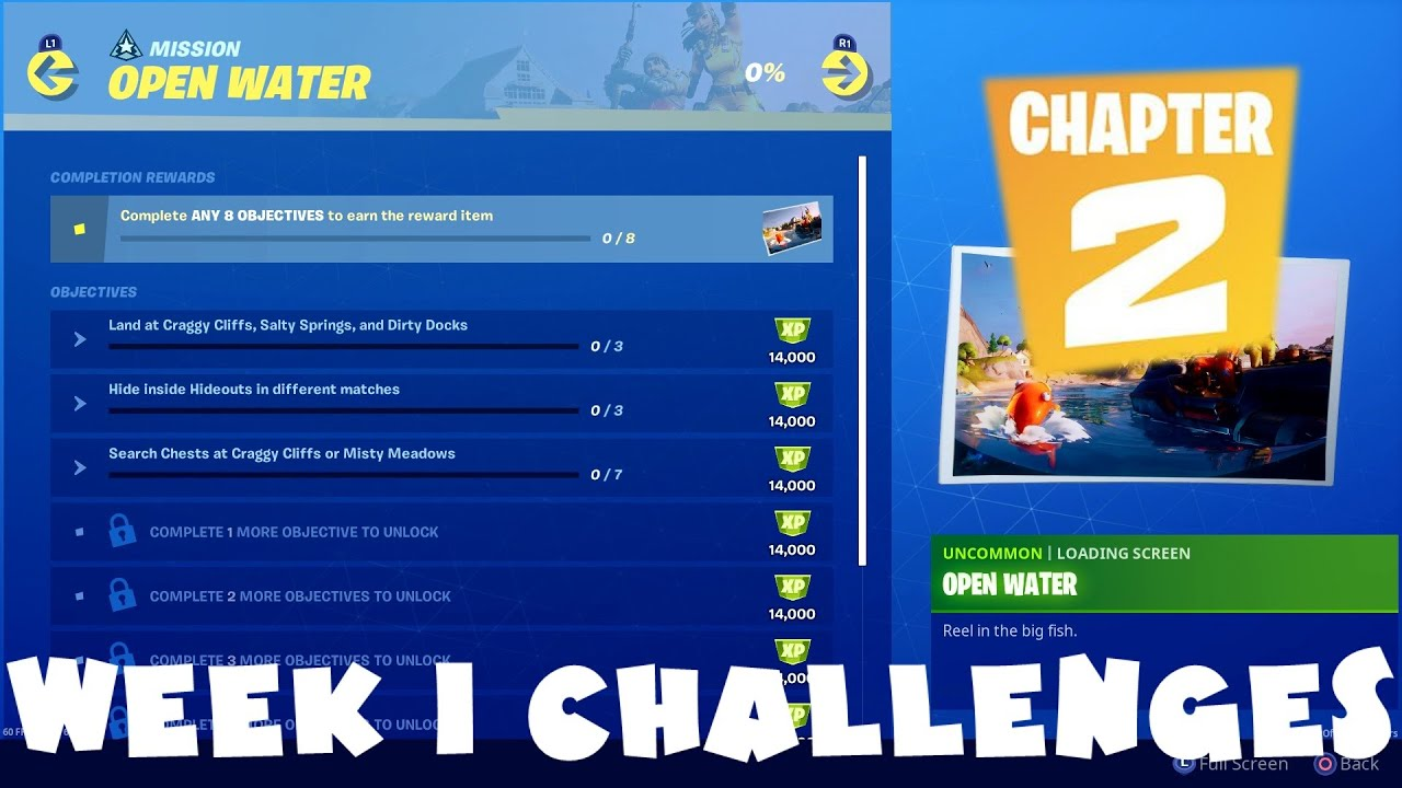 All Week 1 Chapter 2 Season 1 Open Water Challenges Guide Fortnite Battle Royale