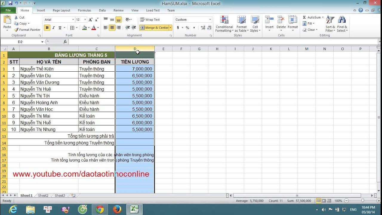 Hướng dẫn cách sử dụng hàm Sum và Sumif trong Excel