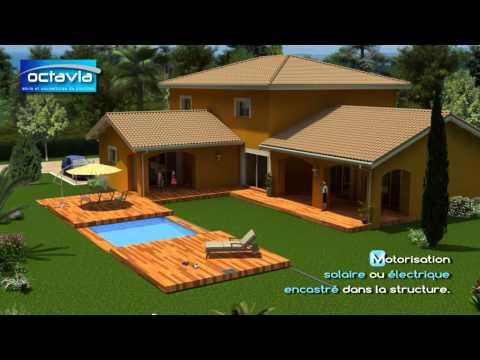 Terrasse mobile pour piscine, abris de piscine