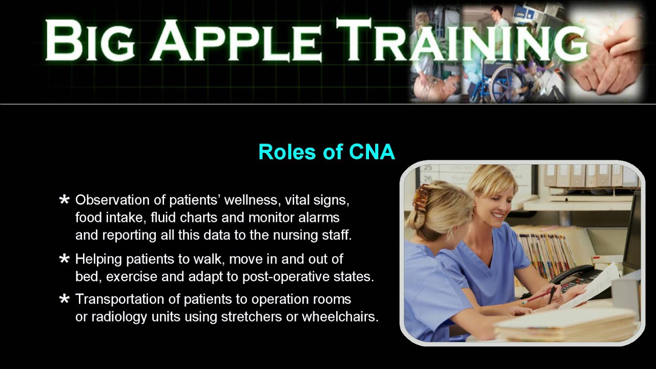 roles of a cna Hospital certified nursing assistants (cnas) have the extraordinary opportunity to make a positive impact in the lives of their patients by aiding the nursing staff in nearly every aspect of patient care, hospital cnas play a significant role in a patient's day-to-day experience within a healthcare facility.