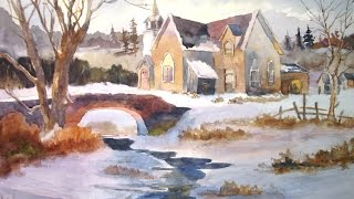 Country Church In Winter - Watercolor