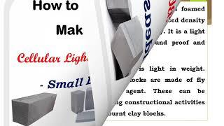 How to Start CLC Blocks Making Business. Cellular Lightweight Concrete Blocks