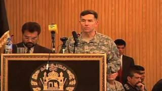 Lt Gen William Caldwell speaks to newest Afghan Elite Police Officers